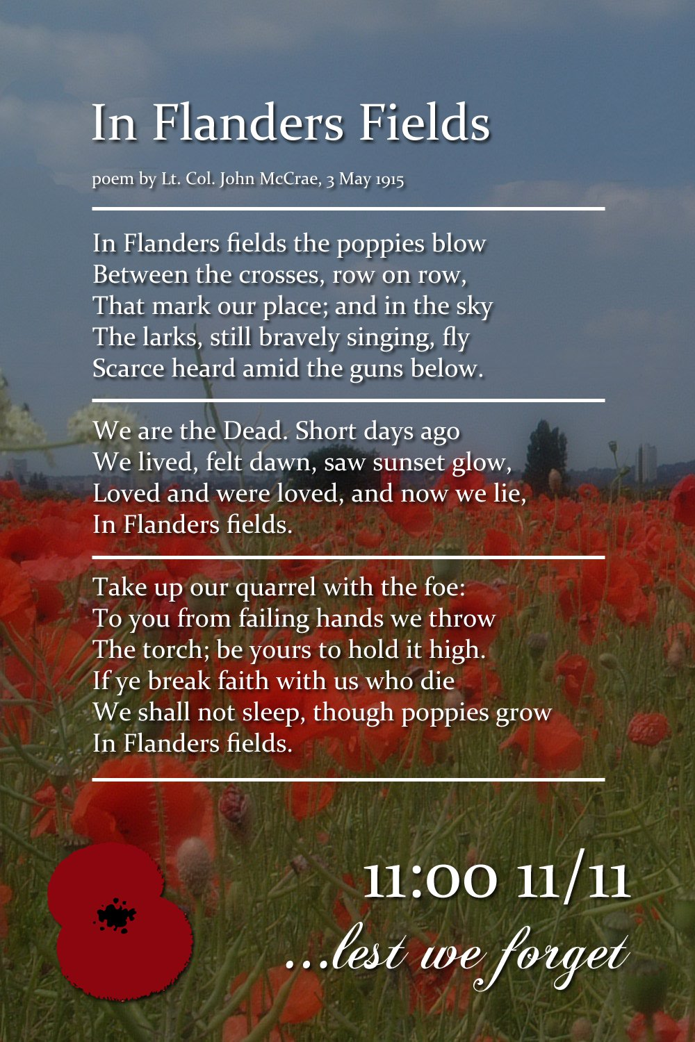 the importance of in flanders fields by colonel john mccrae essay John mccrae in flanders fields in mccrae essay fields flanders john poem ks1 university of chicago essay importance of time importance of driving.